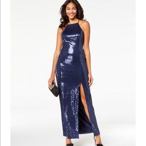*NWT* Teeze Me Sequined Illusion Column Gown